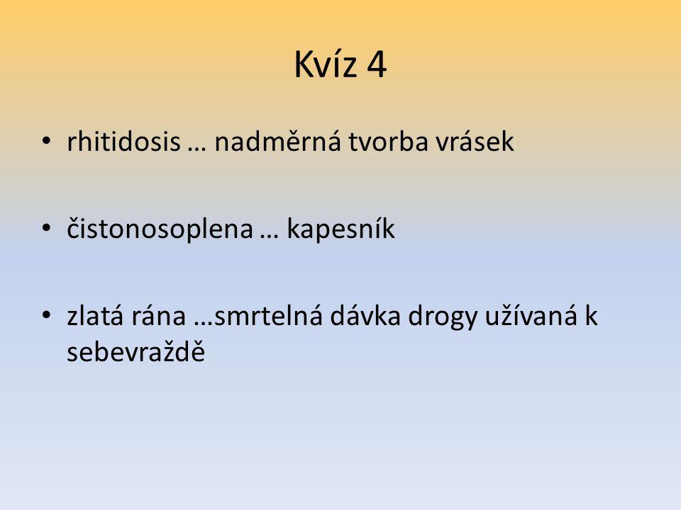 Kvíz 4 rhitidosis … nadměrná tvorba vrásek čistonosoplena … kapesník