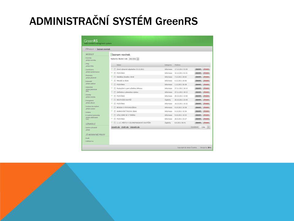 Administrační systém GreenRS