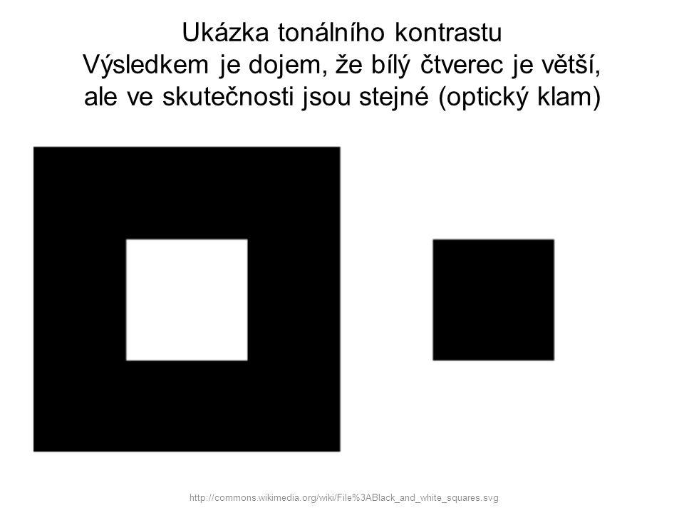 Ukázka tonálního kontrastu Výsledkem je dojem, že bílý čtverec je větší, ale ve skutečnosti jsou stejné (optický klam)