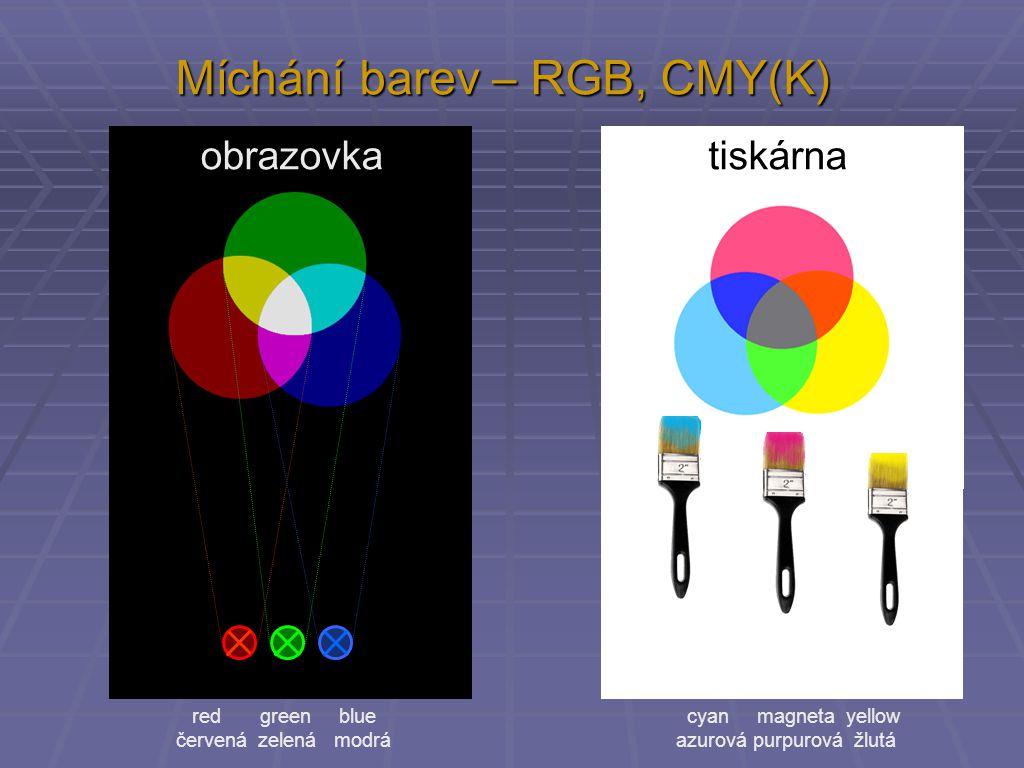 Míchání barev – RGB, CMY(K)