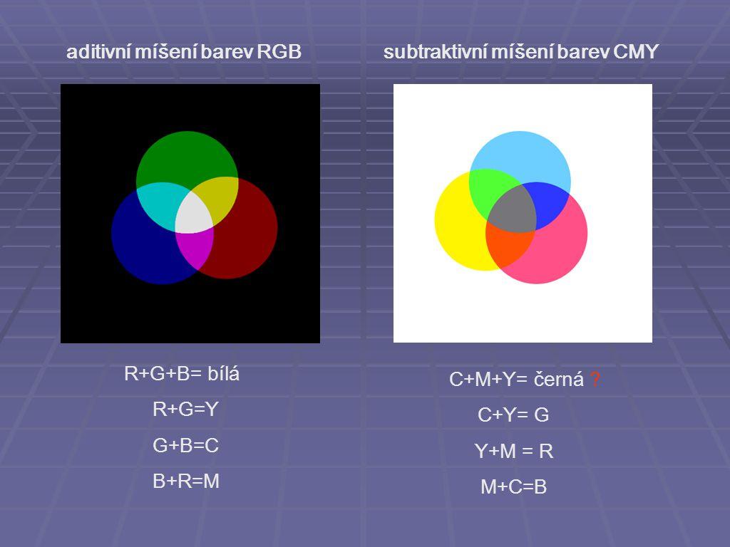 aditivní míšení barev RGB subtraktivní míšení barev CMY
