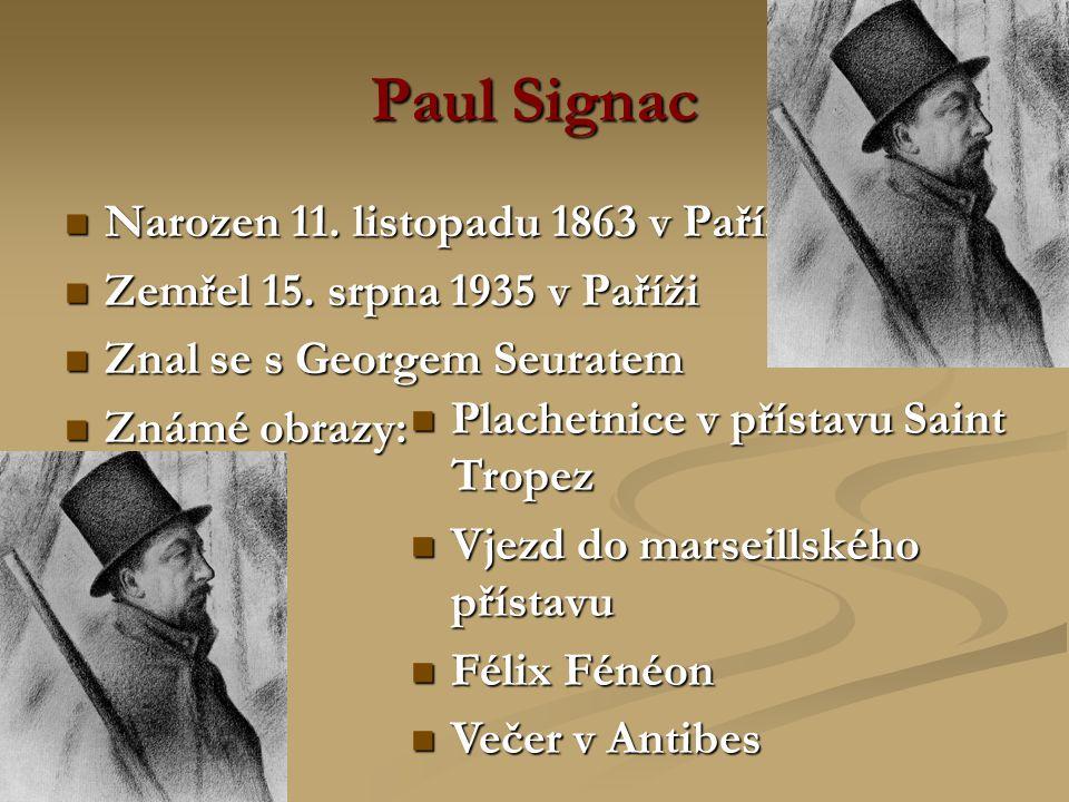 Paul Signac Narozen 11. listopadu 1863 v Paříži