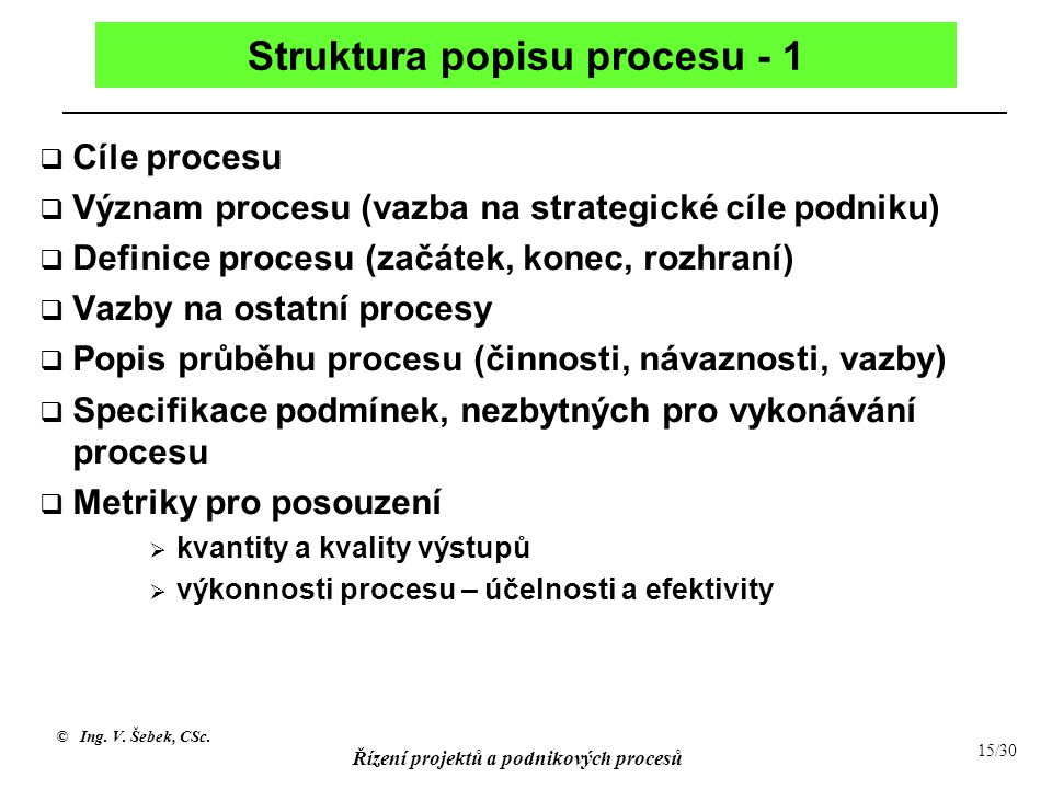 Struktura popisu procesu - 1