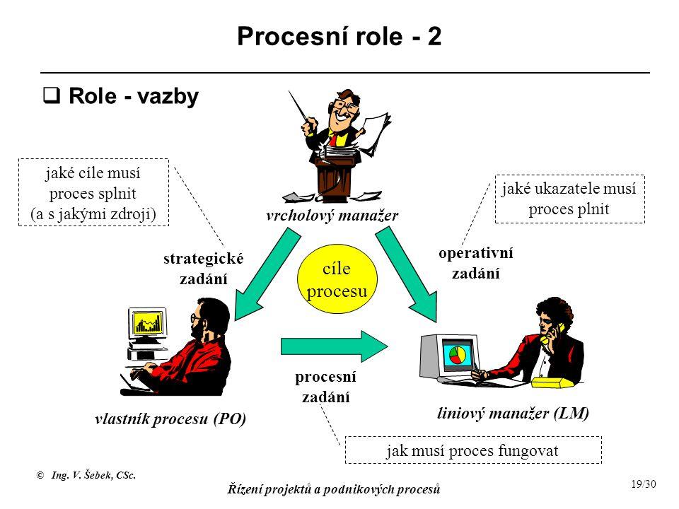 Procesní role - 2 Role - vazby cíle procesu