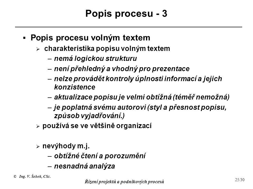 Popis procesu - 3 Popis procesu volným textem