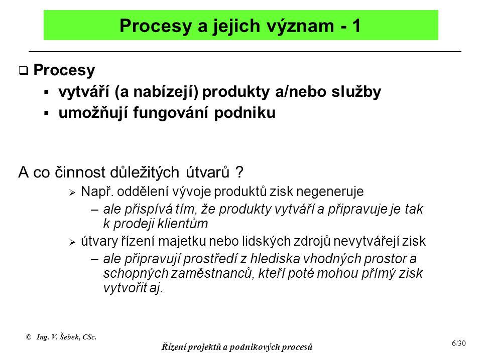 Procesy a jejich význam - 1