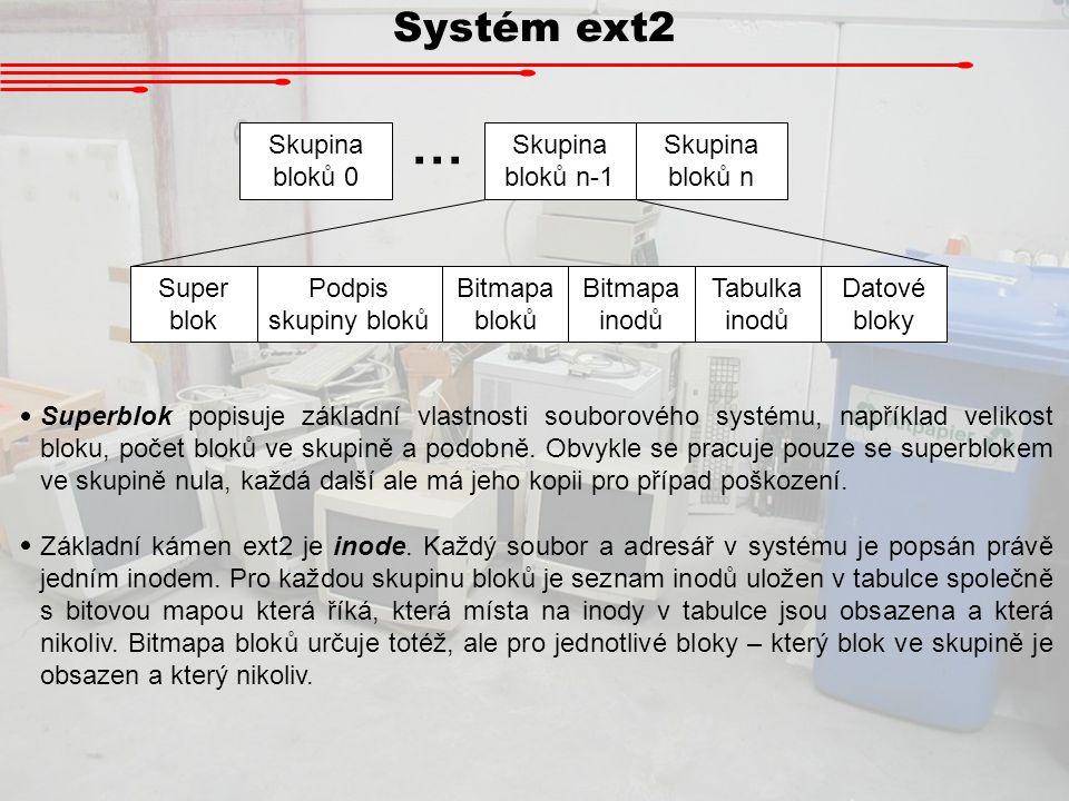 … Systém ext2 Skupina bloků 0 Skupina bloků n-1 Skupina bloků n