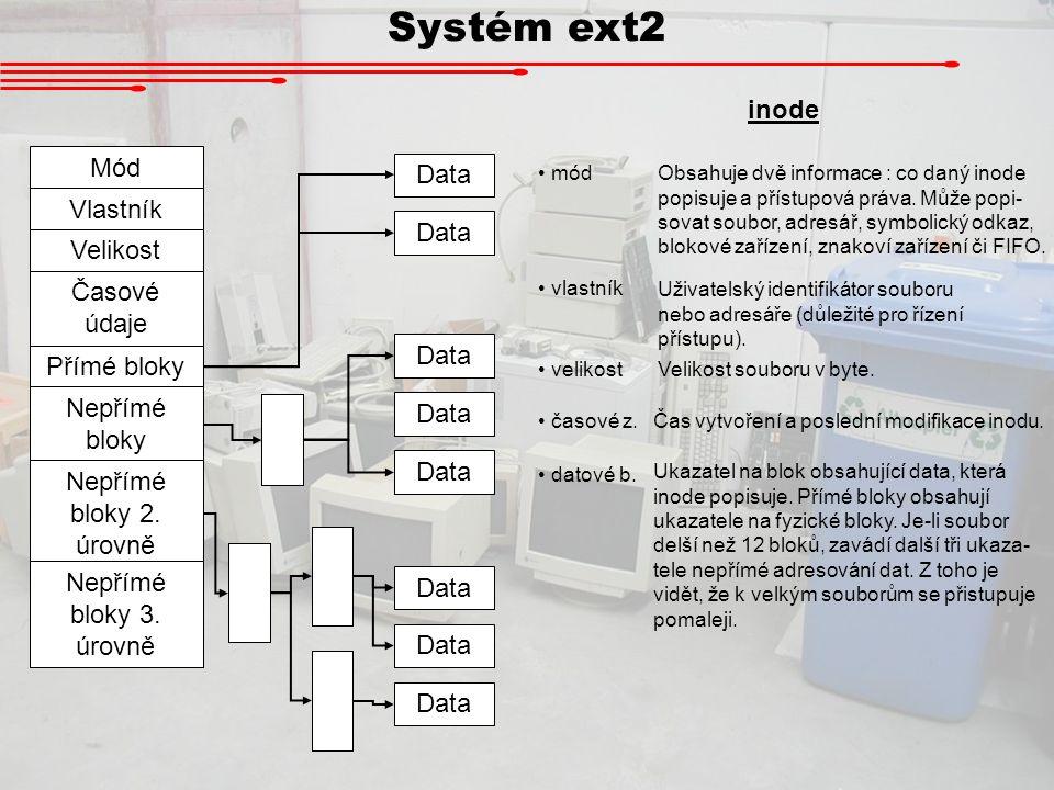 Systém ext2 inode Mód Data Vlastník Velikost Časové údaje Přímé bloky