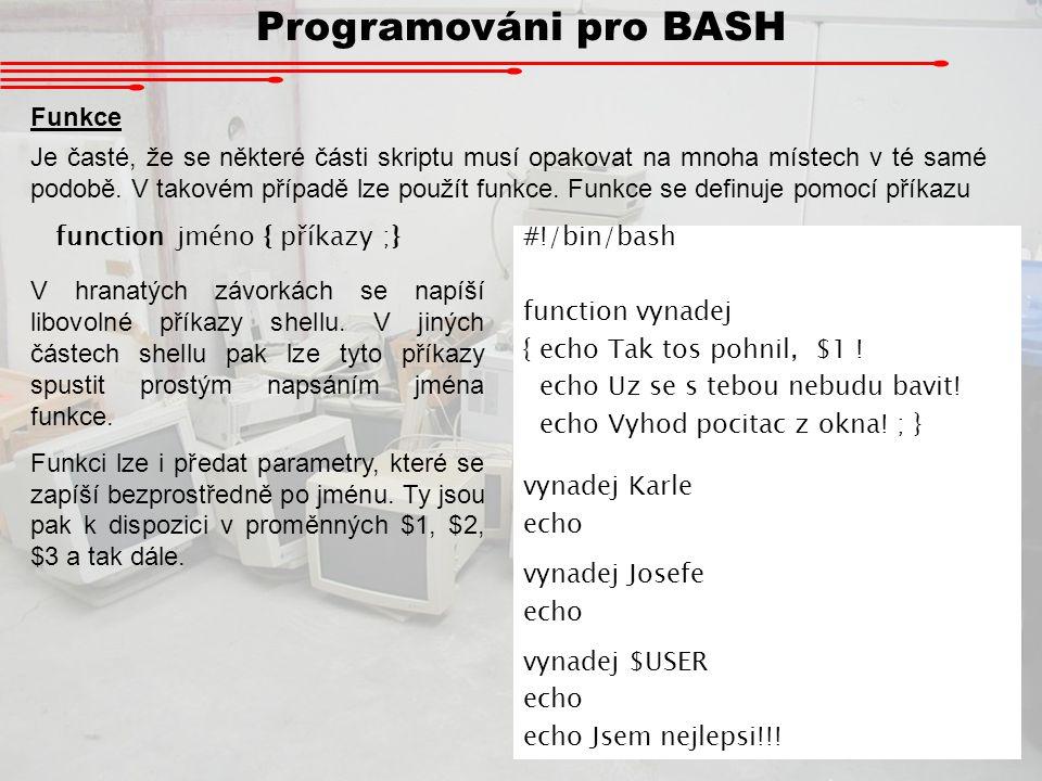 Programováni pro BASH Funkce