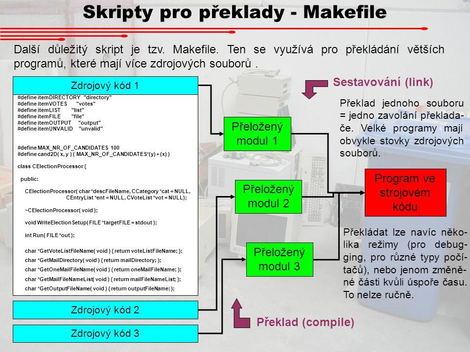 Skripty pro překlady - Makefile