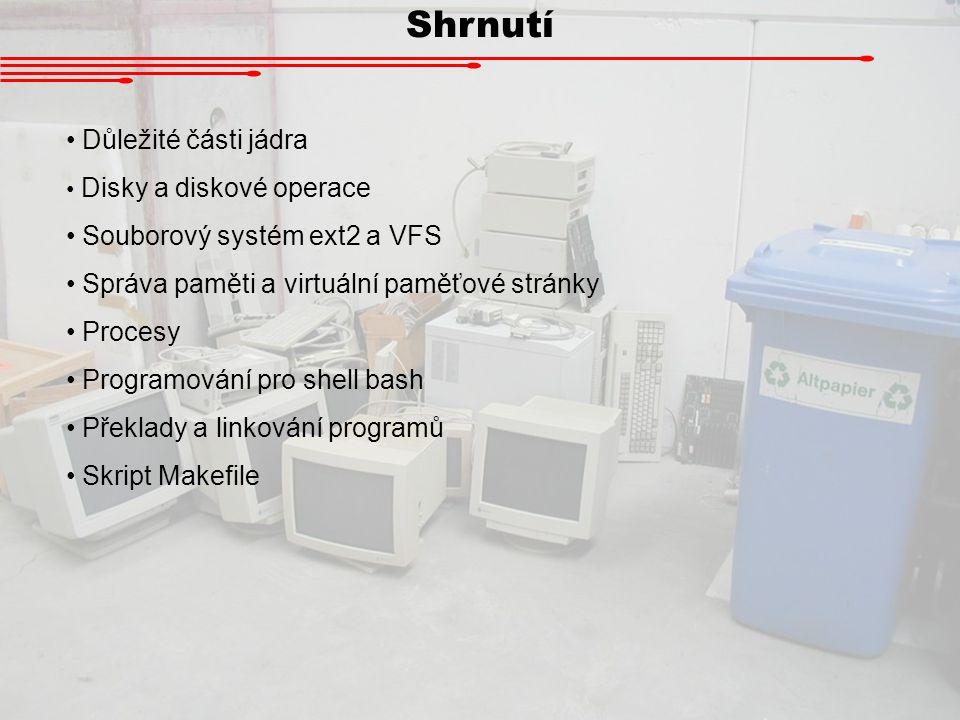 Shrnutí Důležité části jádra Souborový systém ext2 a VFS
