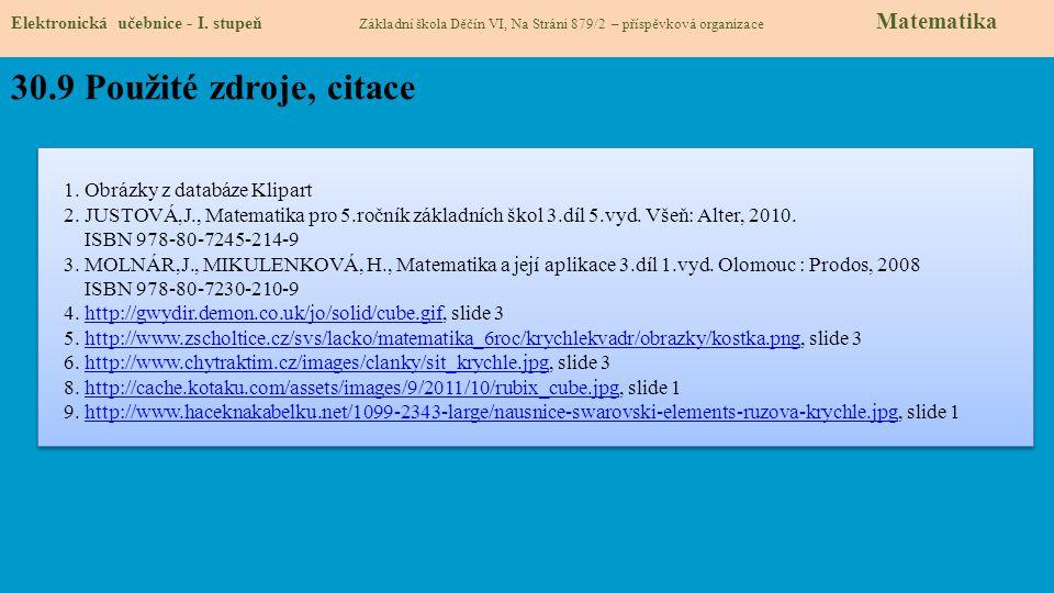 30.9 Použité zdroje, citace 1. Obrázky z databáze Klipart