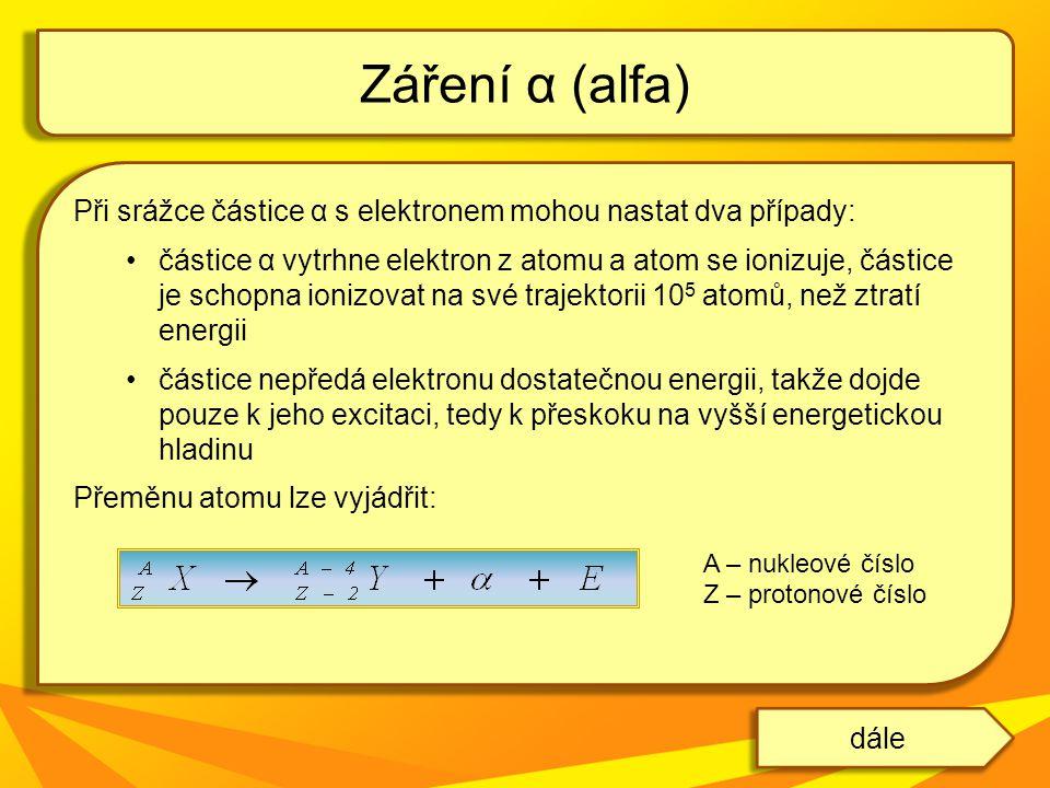 Záření α (alfa) Při srážce částice α s elektronem mohou nastat dva případy: