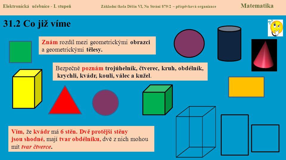 31.2 Co již víme Znám rozdíl mezi geometrickými obrazci