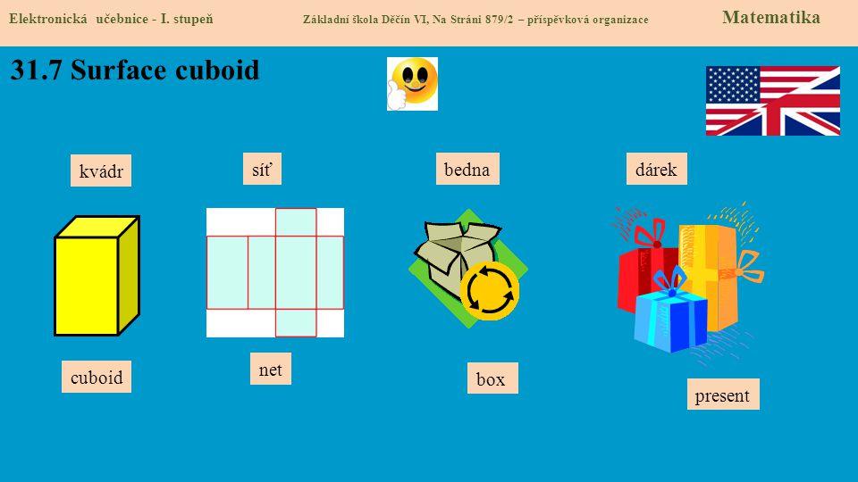 31.7 Surface cuboid kvádr síť bedna dárek net cuboid box present