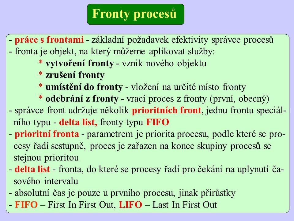 Fronty procesů - práce s frontami - základní požadavek efektivity správce procesů. - fronta je objekt, na který můžeme aplikovat služby:
