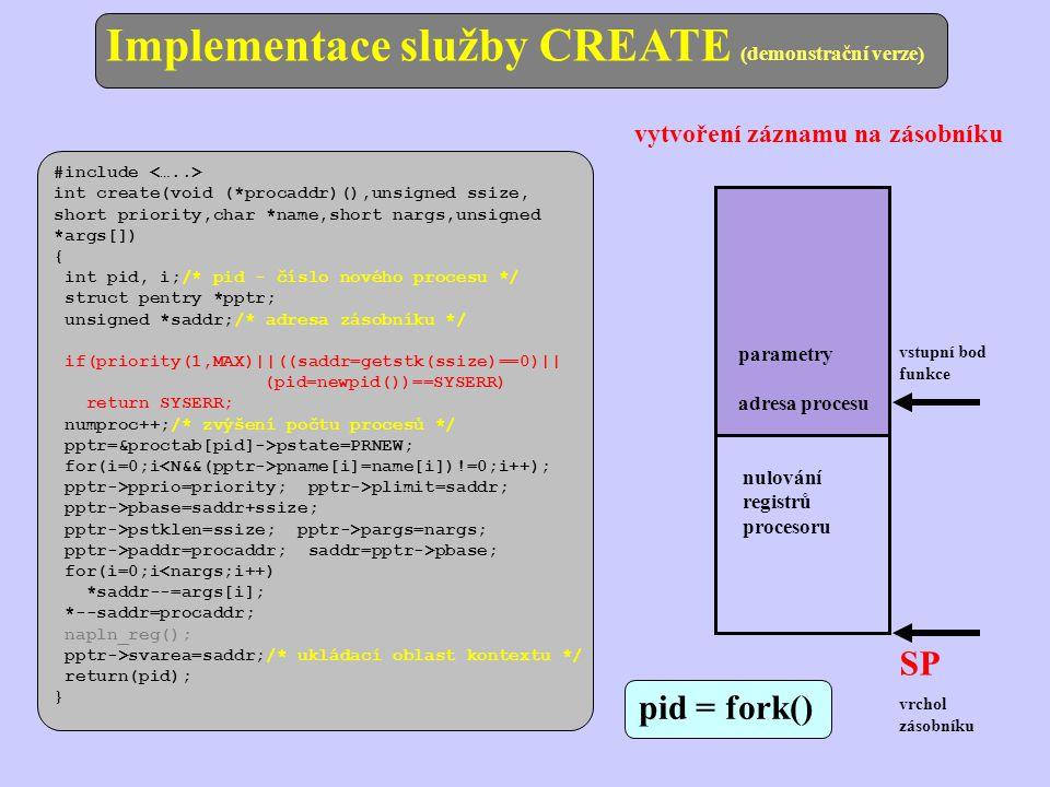 Implementace služby CREATE (demonstrační verze)