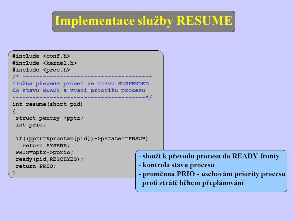 Implementace služby RESUME