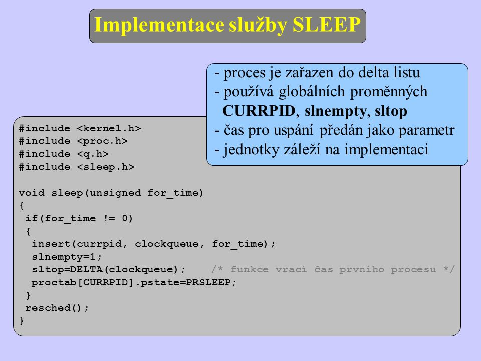 Implementace služby SLEEP