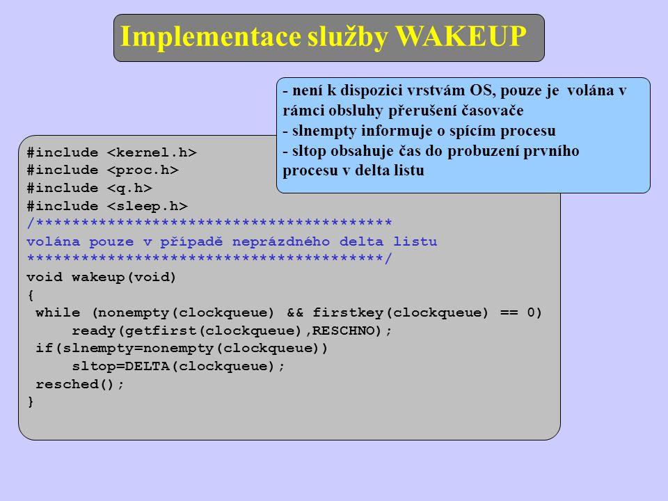 Implementace služby WAKEUP