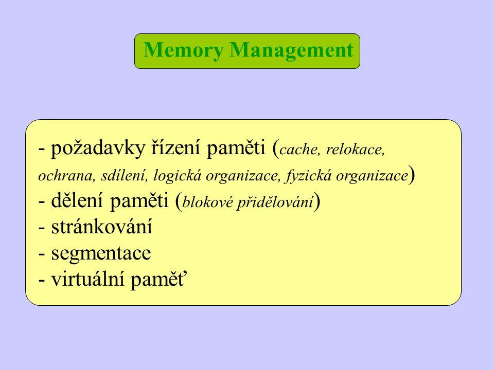 Memory Management požadavky řízení paměti (cache, relokace, ochrana, sdílení, logická organizace, fyzická organizace)