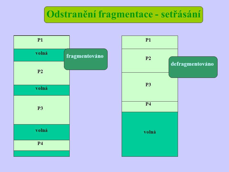 Odstranění fragmentace - setřásání