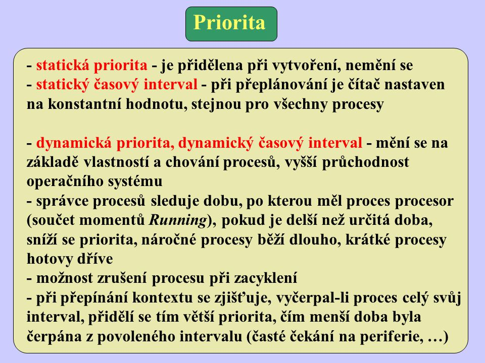 Priorita - statická priorita - je přidělena při vytvoření, nemění se