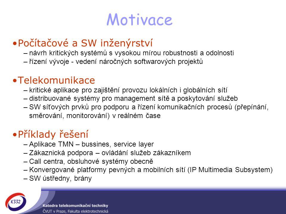 Motivace Počítačové a SW inženýrství Telekomunikace Příklady řešení