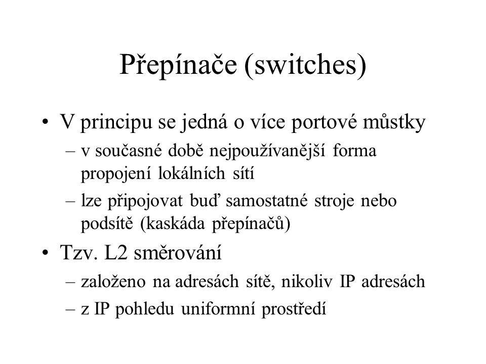 Přepínače (switches) V principu se jedná o více portové můstky