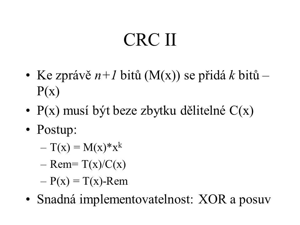 CRC II Ke zprávě n+1 bitů (M(x)) se přidá k bitů – P(x)