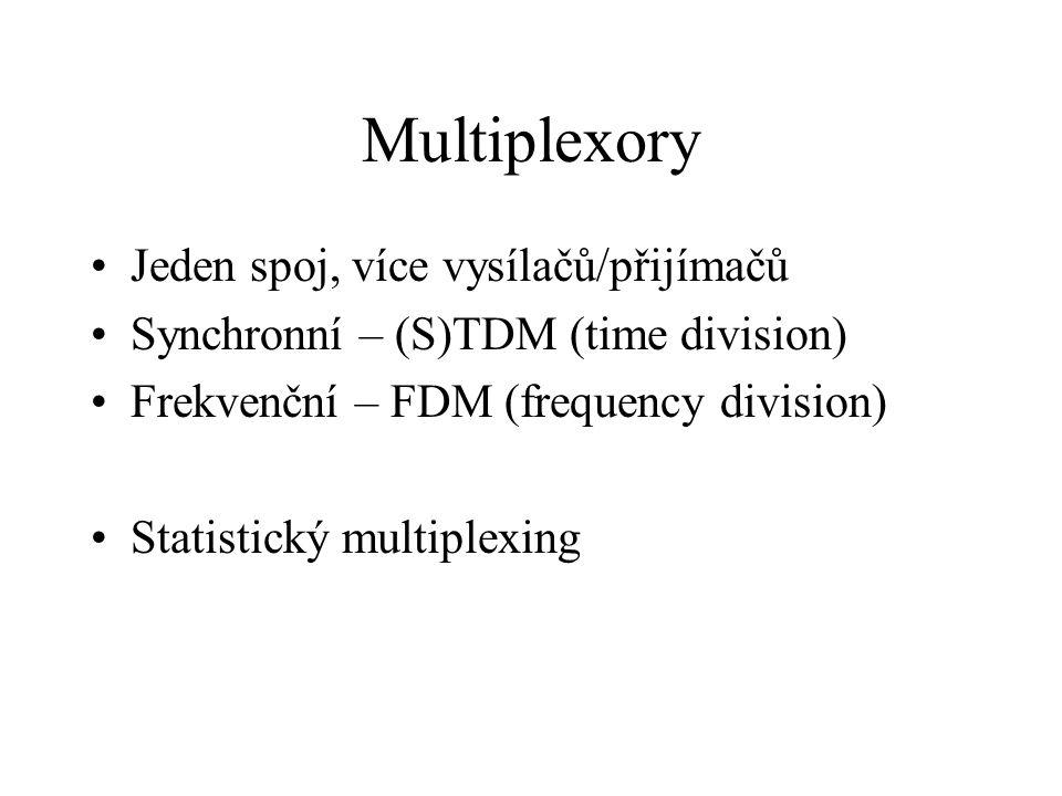 Multiplexory Jeden spoj, více vysílačů/přijímačů