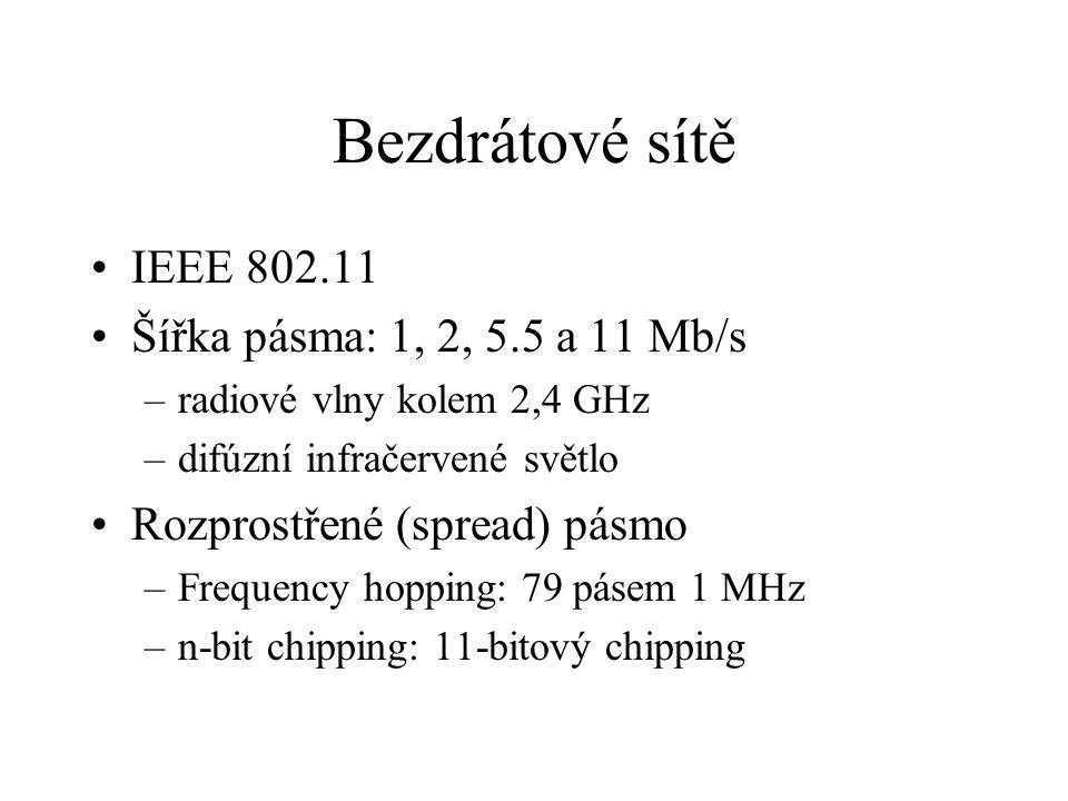 Bezdrátové sítě IEEE 802.11 Šířka pásma: 1, 2, 5.5 a 11 Mb/s