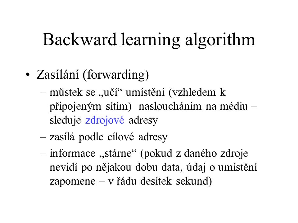 Backward learning algorithm