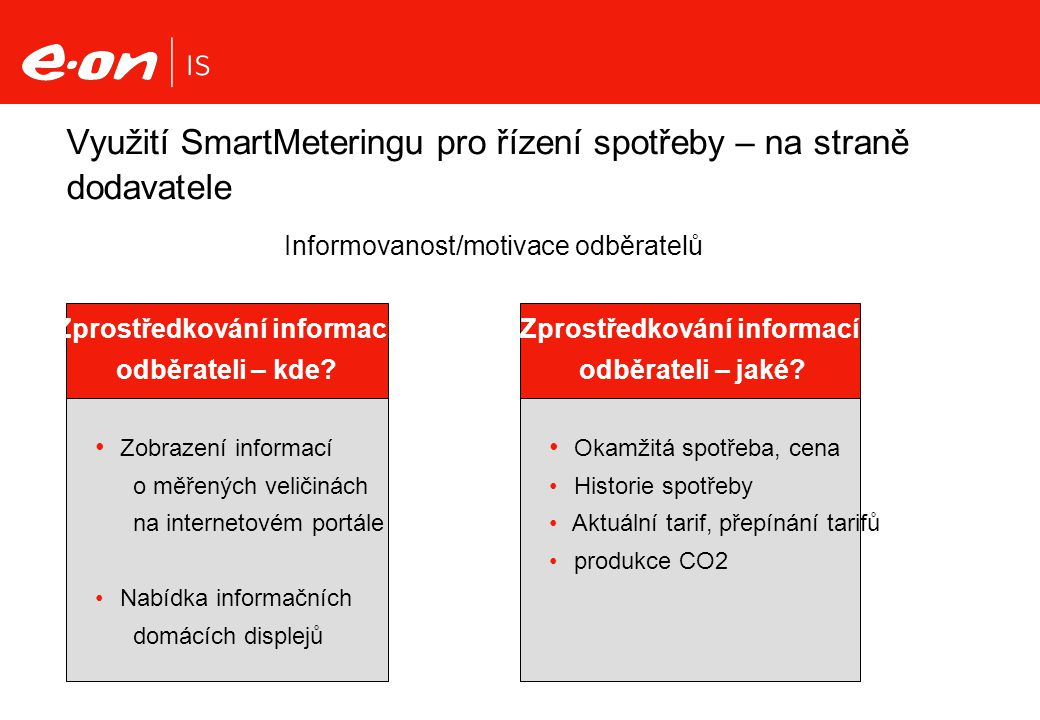 Využití SmartMeteringu pro řízení spotřeby – na straně dodavatele