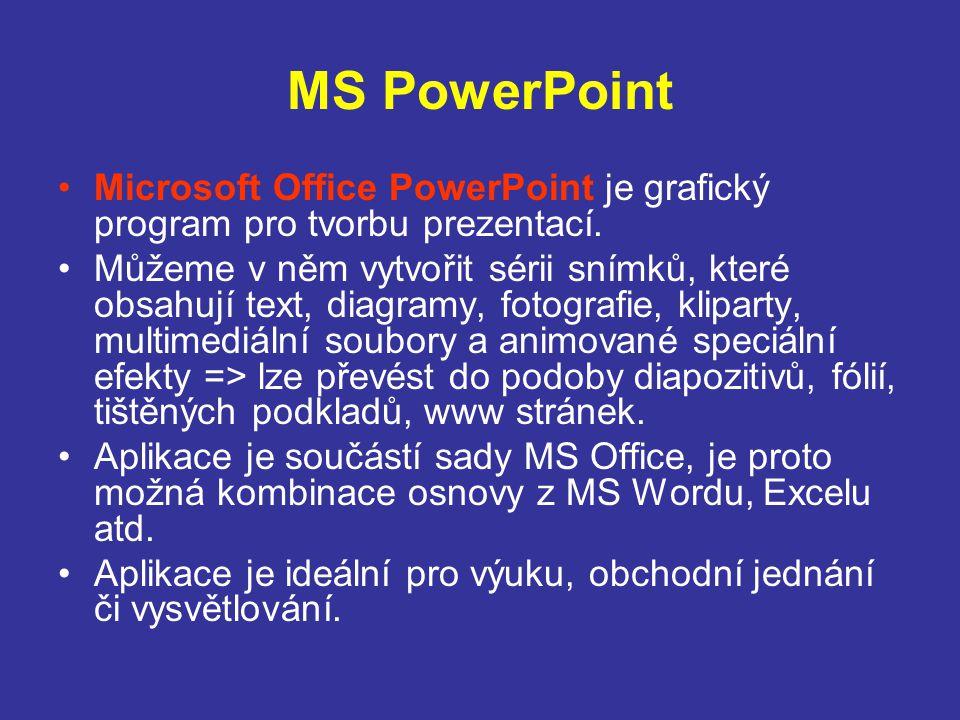 MS PowerPoint Microsoft Office PowerPoint je grafický program pro tvorbu prezentací.