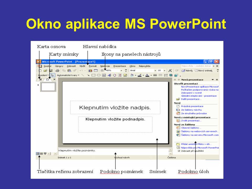 Okno aplikace MS PowerPoint