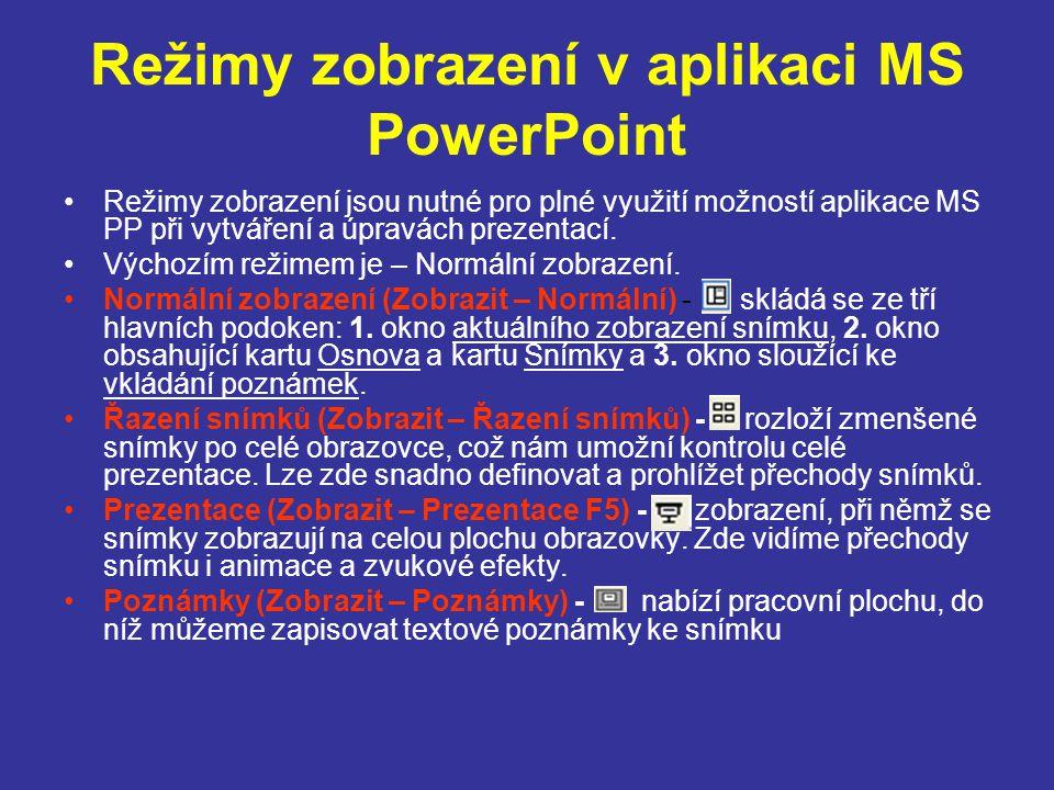 Režimy zobrazení v aplikaci MS PowerPoint