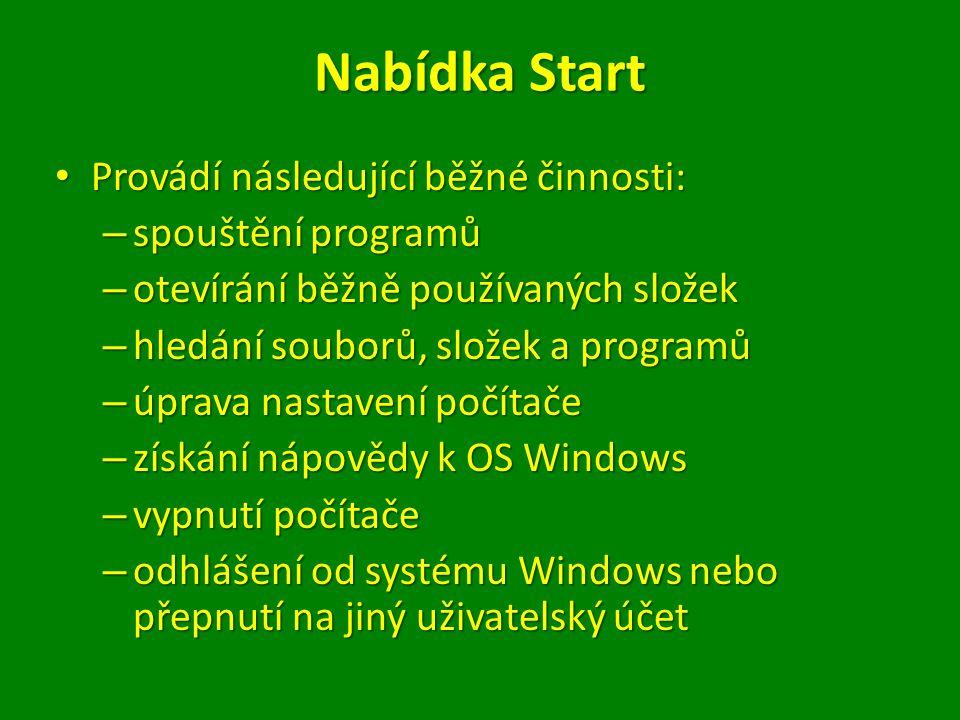 Nabídka Start Provádí následující běžné činnosti: spouštění programů