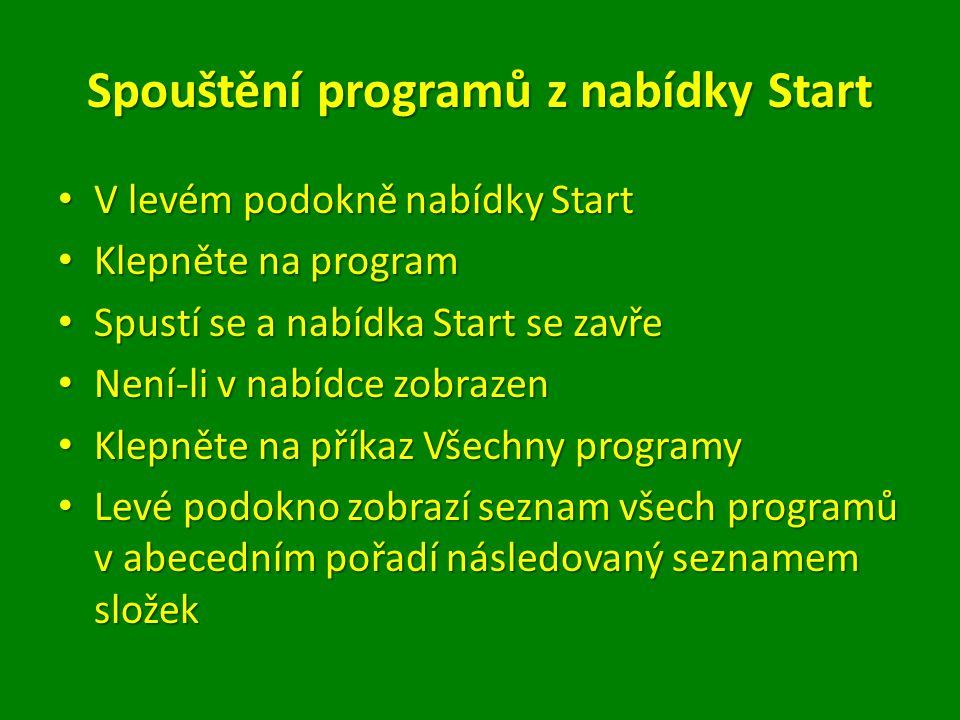 Spouštění programů z nabídky Start