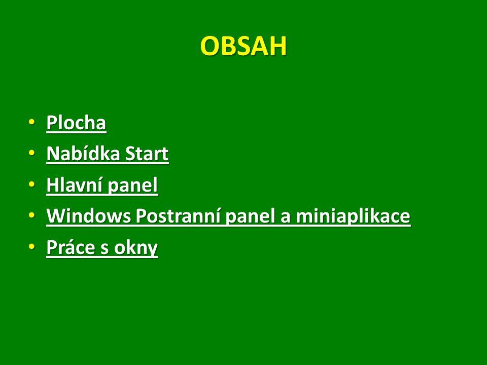 OBSAH Plocha Nabídka Start Hlavní panel