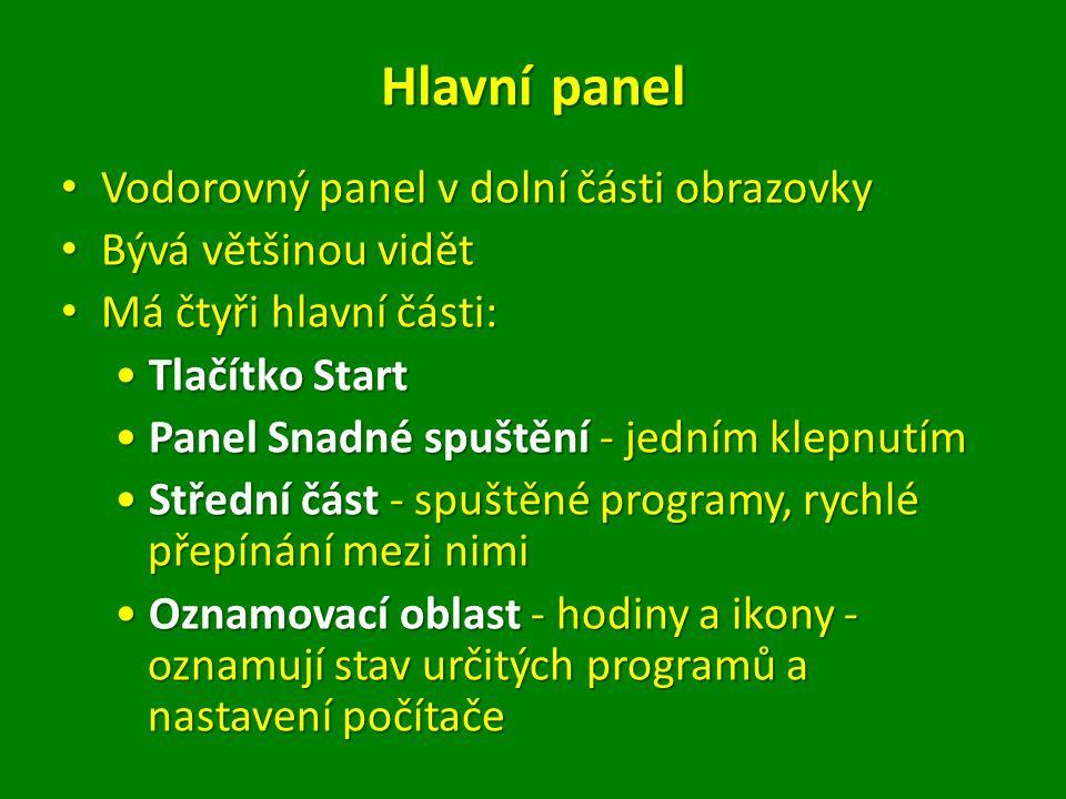 Hlavní panel Vodorovný panel v dolní části obrazovky