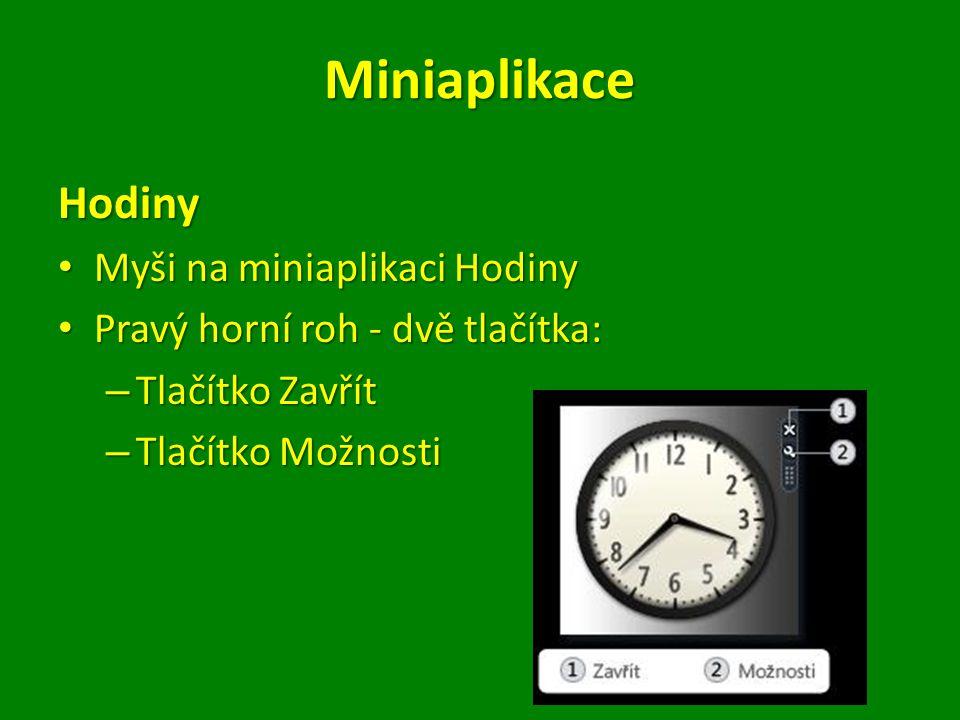 Miniaplikace Hodiny Myši na miniaplikaci Hodiny