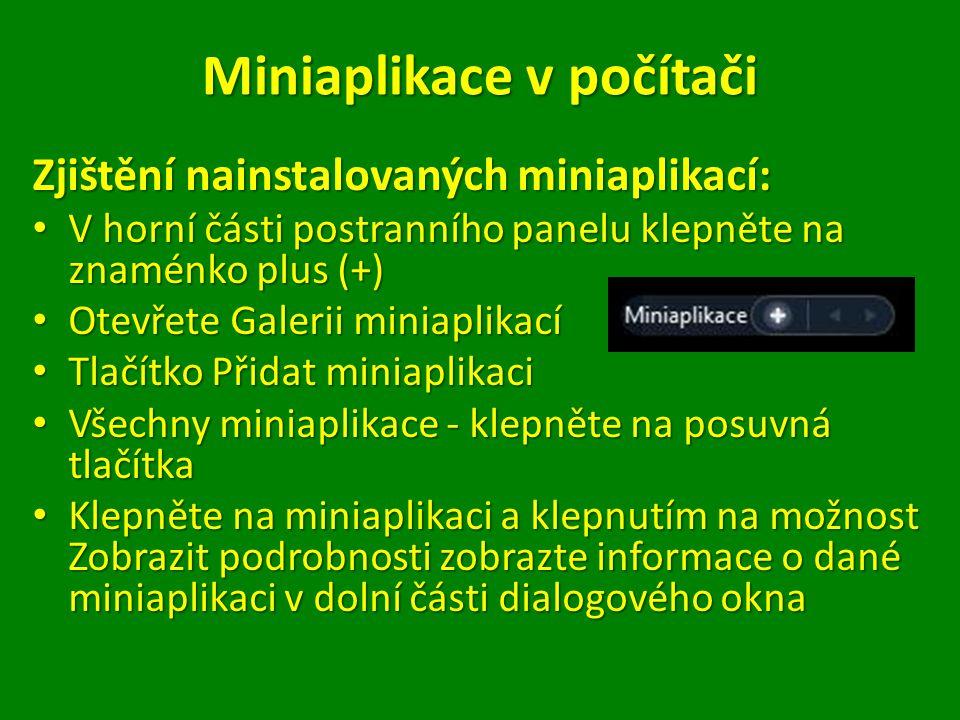 Miniaplikace v počítači