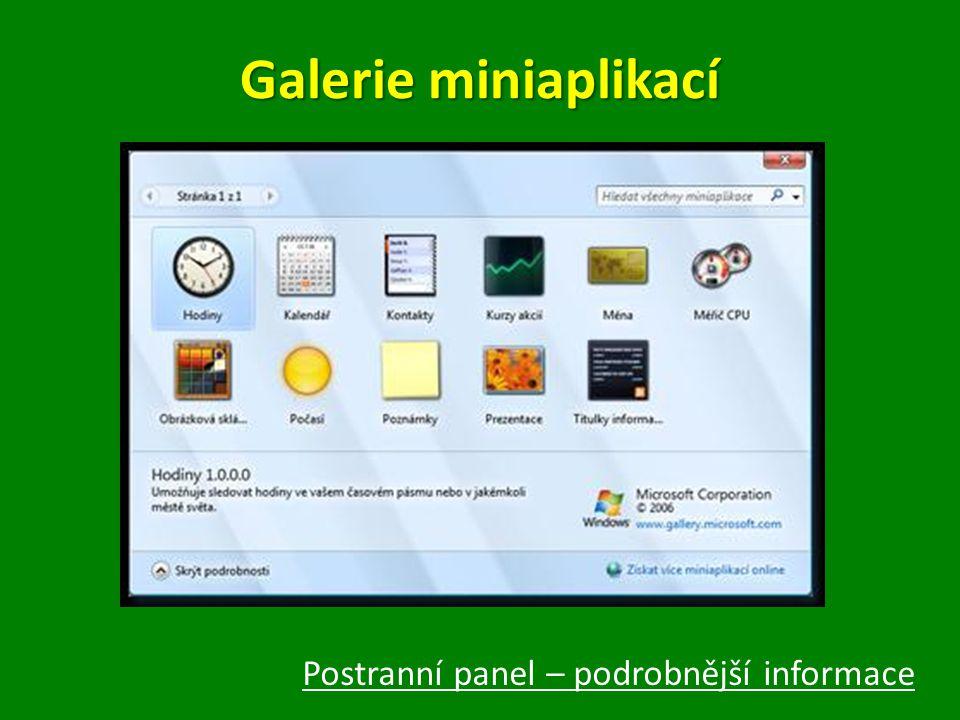 Galerie miniaplikací Postranní panel – podrobnější informace