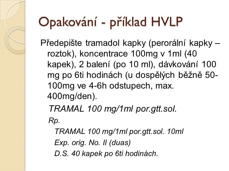 Opakování - příklad HVLP