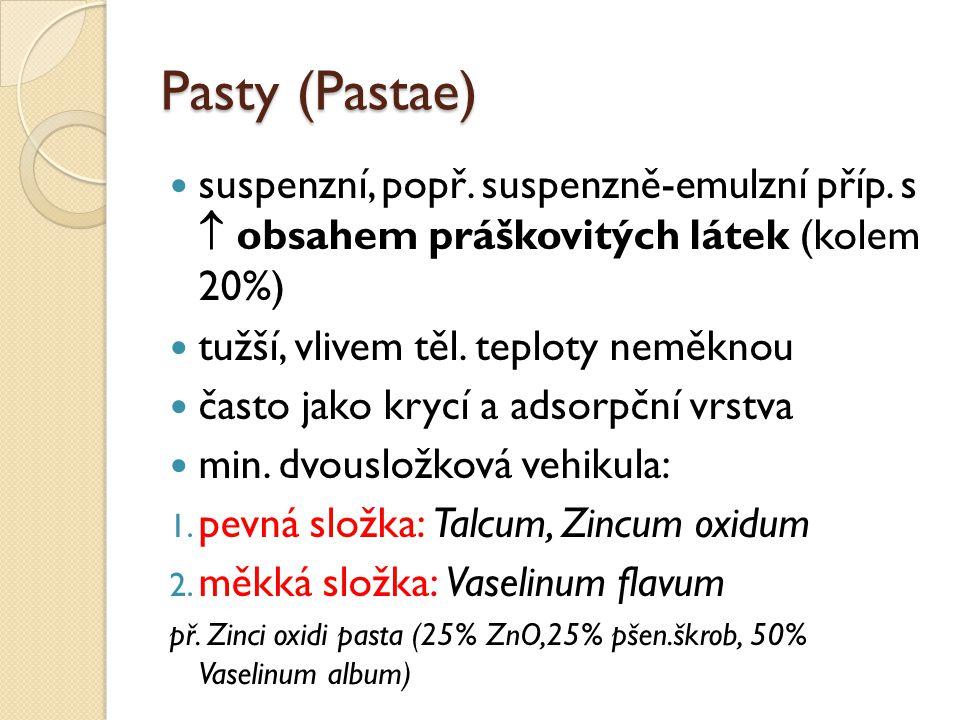 Pasty (Pastae) suspenzní, popř. suspenzně-emulzní příp. s  obsahem práškovitých látek (kolem 20%)