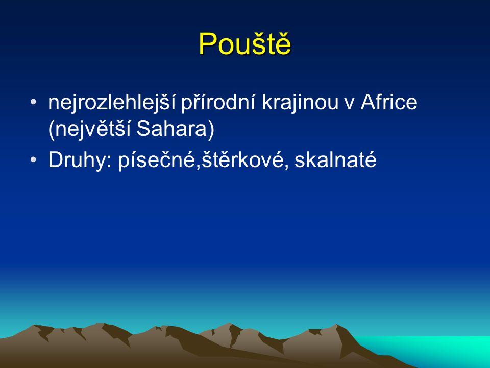 Pouště nejrozlehlejší přírodní krajinou v Africe (největší Sahara)