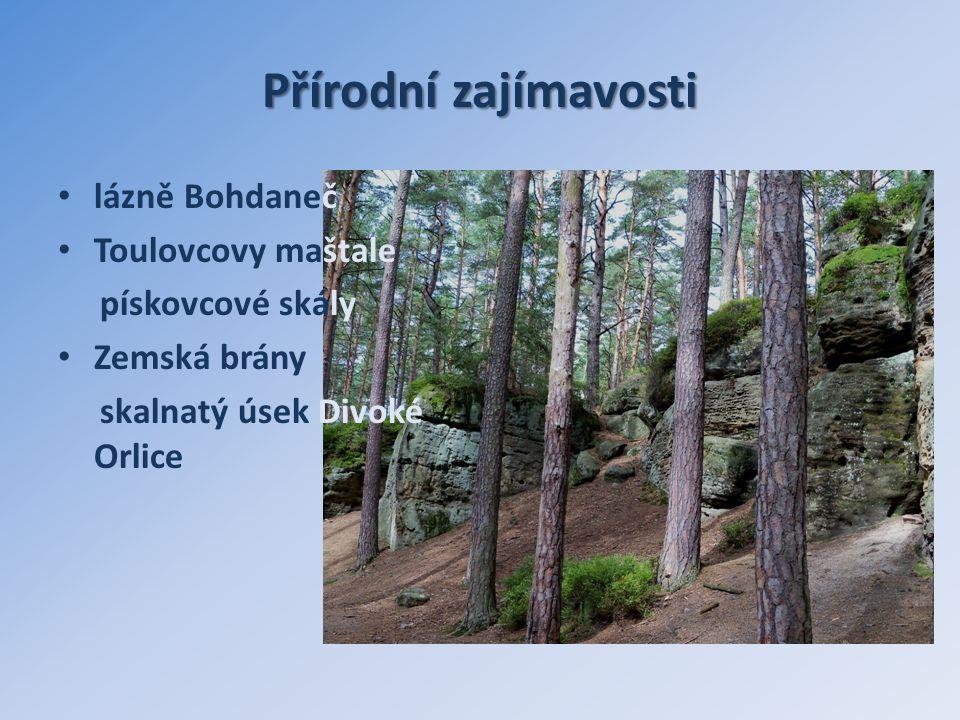Přírodní zajímavosti lázně Bohdaneč Toulovcovy maštale