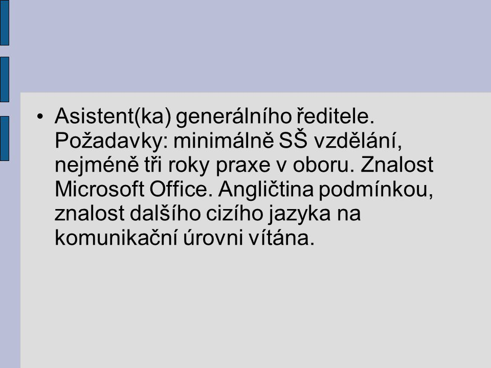 Asistent(ka) generálního ředitele