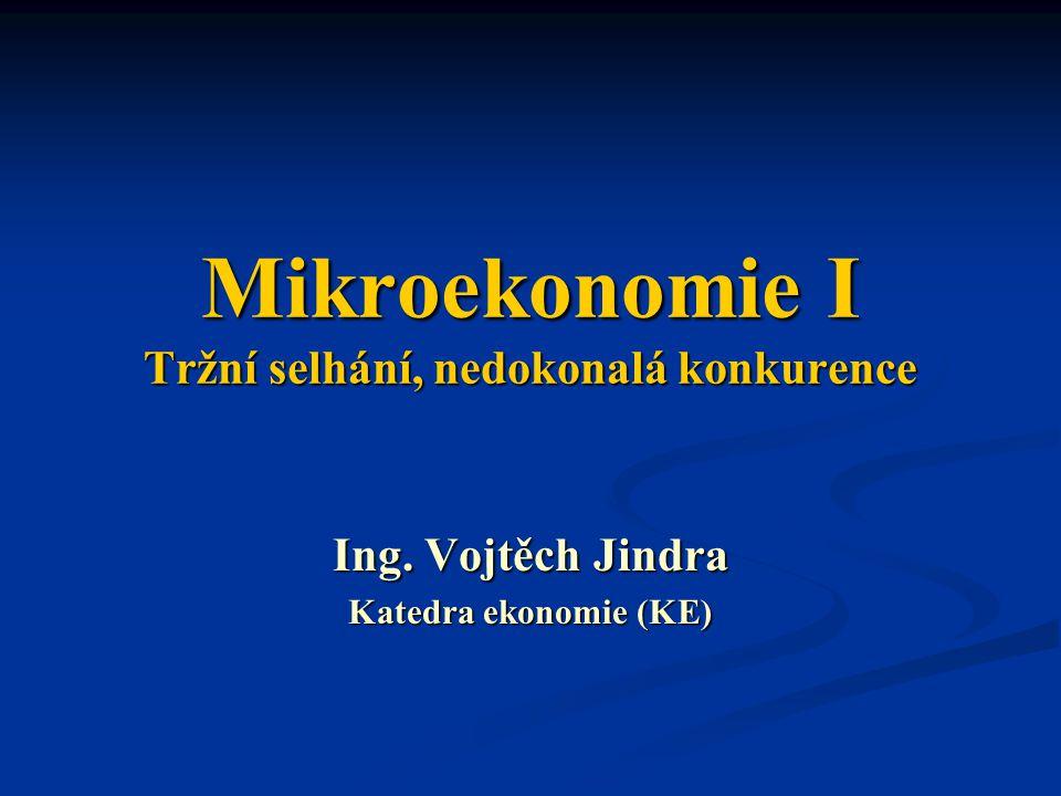Mikroekonomie I Tržní selhání, nedokonalá konkurence